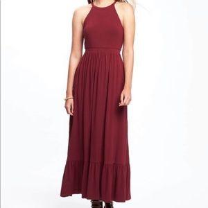 OLD NAVY high neck maxi dress knit burgundy XXL